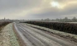 Luddington Road towards Great Gidding, Jan 21
