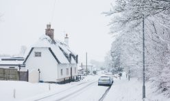 Great Gidding in the snow January 2021 - Main Street