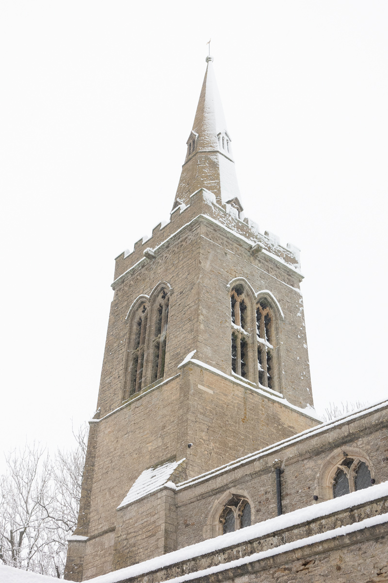 Great Gidding in the snow January 2021 - St Michael's steeple