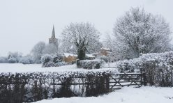 Great Gidding in the snow January 2021 - St Michael's from Luddington Road