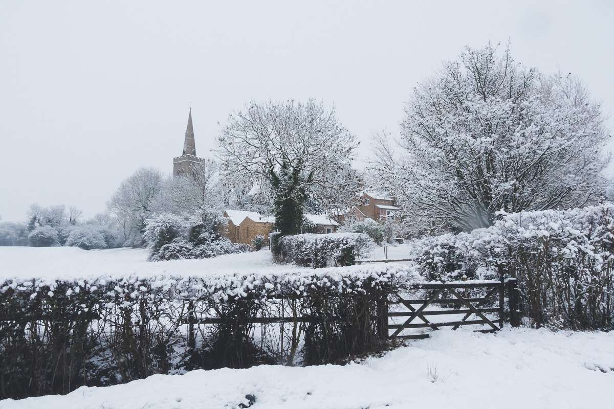 Great Gidding in the snow January 2021 - St Michael's and Vicarage