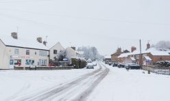 Great Gidding in the snow January 2021 - Village Shop, Main Street