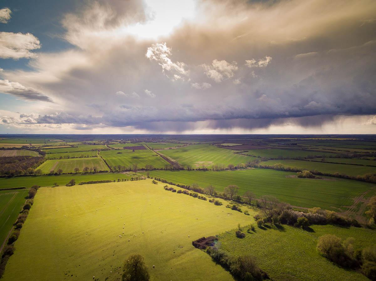 View across fields from Little Gidding towards Winwick